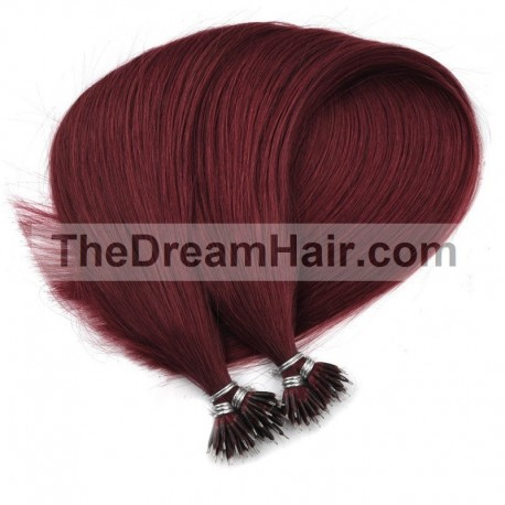 Nano Ring Hair Extensions, Color #530 (Red Wine), Made With Remy Indian Human Hair