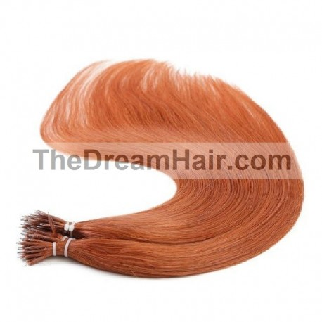 Nano Ring Hair Extensions, Color #350 (Dark Copper Red), Made With Remy Indian Human Hair