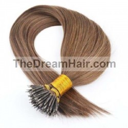 Nano Ring Hair Extensions, Color #30 (Dark Auburn), Made With Remy Indian Human Hair