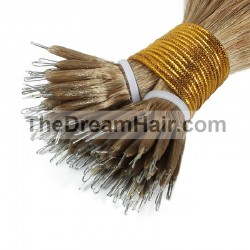 Nano Ring Hair Extensions, Color #18 (Light Ash Blonde), Made With Remy Indian Human Hair