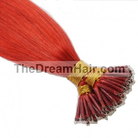 Nano Ring Hair Extensions, Color #Red, Made With Remy Indian Human Hair