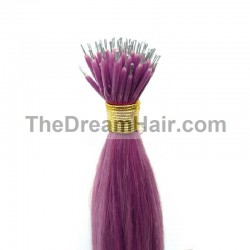 Nano Ring Hair Extensions, Color #Purple, Made With Remy Indian Human Hair