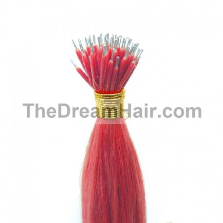 Nano Ring Hair Extensions, Color #Pink, Made With Remy Indian Human Hair