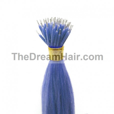 Nano Ring Hair Extensions, Color #Blue, Made With Remy Indian Human Hair