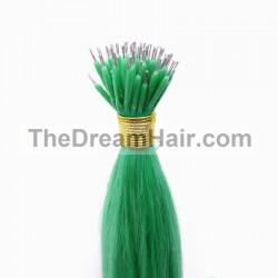 Nano Ring Hair Extensions, Color #Green, Made With Remy Indian Human Hair
