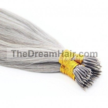 Nano Ring Hair Extensions, Color #Silver, Made With Remy Indian Human Hair