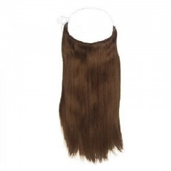 Flip-in Halo Hair Extensions, Colour #4 (Dark Brown), Made With Remy Indian Human Hair