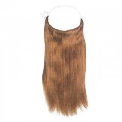 Flip-in Halo Hair Extensions, Colour #8 (Chestnut Brown), Made With Remy Indian Human Hair