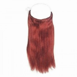 Flip-in Halo Hair Extensions, Colour #350 (Dark Copper Red), Made With Remy Indian Human Hair