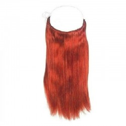 Flip-in Halo Hair Extensions, Colour #Red, Made With Remy Indian Human Hair