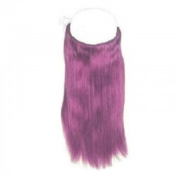 Flip-in Halo Hair Extensions, Colour #Purple, Made With Remy Indian Human Hair