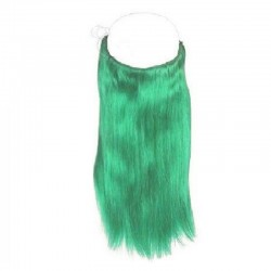 Flip-in Halo Hair Extensions, Colour #Green, Made With Remy Indian Human Hair