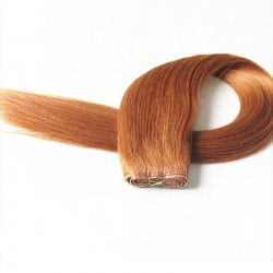 Skin Weft Hair Extensions, Colour #33 (Auburn), Made With Remy Indian Human Hair