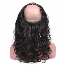 360° Circular Band Lace  Frontal Closure Hair Extensions, Loose Wavy, Colour #1 (Jet Black), Made With Remy Indian Human Hair