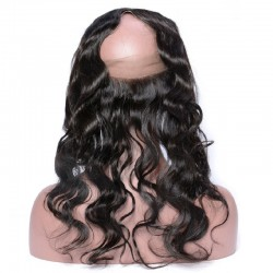 360° Circular Band Lace  Frontal Closure Hair Extensions, Loose Wavy, Colour #1B (Off Black), Made With Remy Indian Human Hair