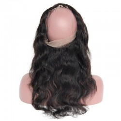 360° Circular Band Lace  Frontal Closure Hair Extensions, Body Wave, Colour #1 (Jet Black), Made With Remy Indian Human Hair