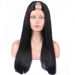 U-Part Wig, Color #1 (Jet Black), Made With Remy Indian Human Hair