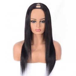 U-Part Wig, Color #1B (Off Black), Made With Remy Indian Human Hair