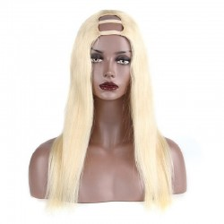 U-Part Wig, Color #60 (Lightest Blonde), Made With Remy Indian Human Hair