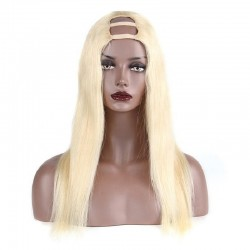 U-Part Wig, Color #613 (Platinum Blonde), Made With Remy Indian Human Hair