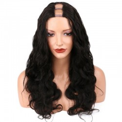 U-Part Wig, Body Wave, Color #1 (Jet Black), Made With Remy Indian Human Hair