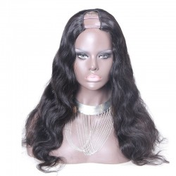 U-Part Wig, Deep Wavy, Color #1B (Off Black), Made With Remy Indian Human Hair