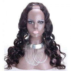 U-Part Wig, Loose Wavy, Color #1 (Jet Black), Made With Remy Indian Human Hair