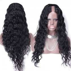 U-Part Wig, Curly, Color #1 (Jet Black), Made With Remy Indian Human Hair