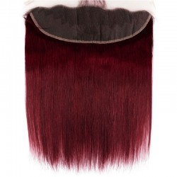 Lace Frontal Closure (13x4) Hair Extensions, Colour #530 (Red Wine), Made With Remy Indian Human Hair