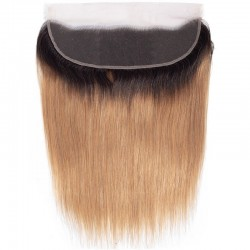 Lace Frontal Closure (13x4) Hair Extensions, Ombre Colour #1B/27 (Off Black / Honey Blonde), Made With Remy Indian Human Hair