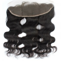 Lace Frontal Closure (13x4) Hair Extensions, Body Wave, Colour #1B (Off Black), Made With Remy Indian Human Hair