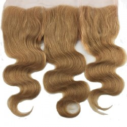 Lace Frontal Closure (13x4) Hair Extensions, Body Wave, Colour #10 (Golden Brown), Made With Remy Indian Human Hair