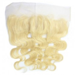 Lace Frontal Closure (13x4) Hair Extensions, Body Wave, Colour #22 (Light Pale Blonde), Made With Remy Indian Human Hair