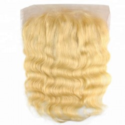 Lace Frontal Closure (13x4) Hair Extensions, Body Wave, Colour #24 (Golden Blonde), Made With Remy Indian Human Hair