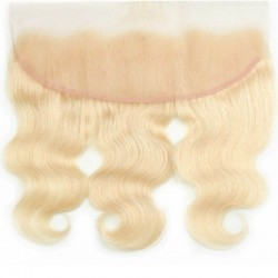 Lace Frontal Closure (13x4) Hair Extensions, Body Wave, Colour #60 (Lightest Blonde), Made With Remy Indian Human Hair