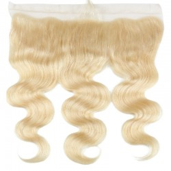 Lace Frontal Closure (13x4) Hair Extensions, Body Wave, Colour #613 (Platinum Blonde), Made With Remy Indian Human Hair