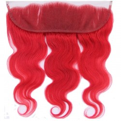 Lace Frontal Closure (13x4) Hair Extensions, Body Wave, Colour #Red, Made With Remy Indian Human Hair