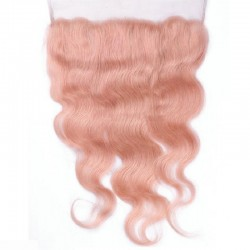 Lace Frontal Closure (13x4) Hair Extensions, Body Wave, Colour #Pink, Made With Remy Indian Human Hair