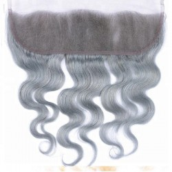 Lace Frontal Closure (13x4) Hair Extensions, Body Wave, Colour #Silver, Made With Remy Indian Human Hair