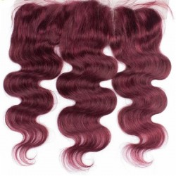 Lace Frontal Closure (13x4) Hair Extensions, Body Wave, Colour #530 (Red Wine), Made With Remy Indian Human Hair
