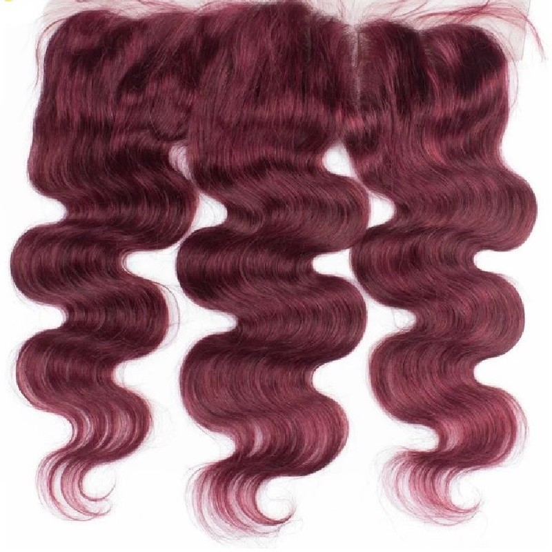 "Lace Frontal Closure (13"" x 4""), Colour 99j (Burgundy)"