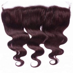 Lace Frontal Closure (13x4) Hair Extensions, Body Wave, Colour #99j (Burgundy), Made With Remy Indian Human Hair