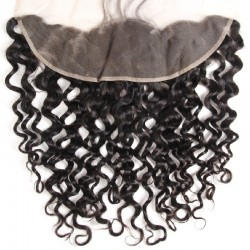 Lace Frontal Closure (13x4) Hair Extensions, Loose Wavy, Colour #1 (Jet Black), Made With Remy Indian Human Hair