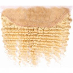 Lace Frontal Closure (13x4) Hair Extensions, Deep Wavy, Colour #60 (Lightest Blonde), Made With Remy Indian Human Hair