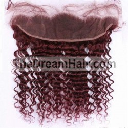 Lace Frontal Closure (13x4) Hair Extensions, Deep Wavy, Colour #99j (Burgundy), Made With Remy Indian Human Hair