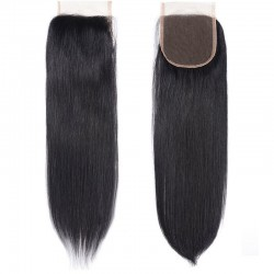 Top Closure Hair Extensions, Free Part, Colour #1 (Jet Black), Made With Remy Indian Human Hair