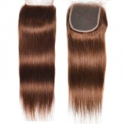 Top Closure Hair Extensions, Free Part , Colour #4 (Dark Brown), Made With Remy Indian Human Hair