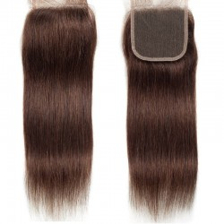Top Closure Hair Extensions, Free Part, Colour #2 (Darkest Brown), Made With Remy Indian Human Hair