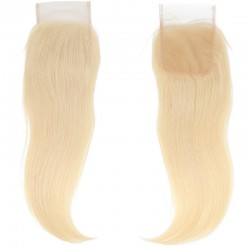 Top Closure Hair Extensions, Free Part, Colour #22 (Light Pale Blonde), Made With Remy Indian Human Hair