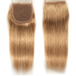 Top Closure Hair Extensions, Free Part, Colour #27 (Honey Blonde), Made With Remy Indian Human Hair
